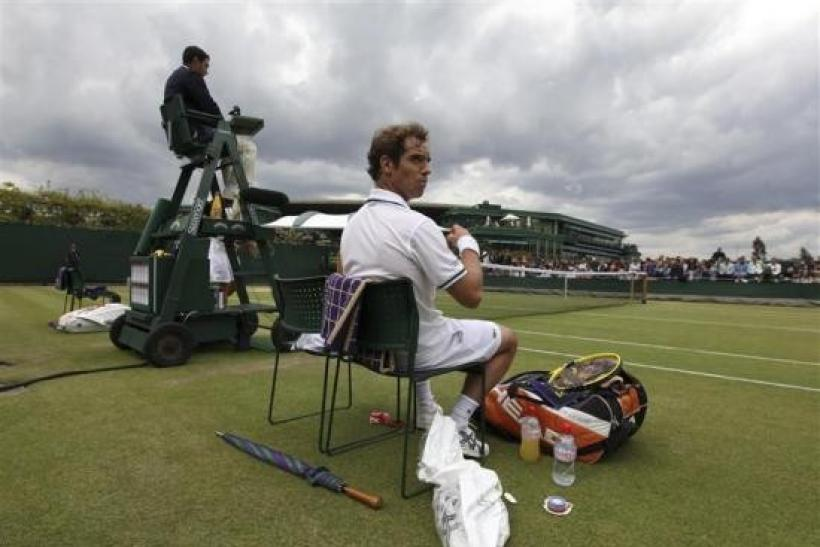 Richard Gasquet of France sits in his chair during a break