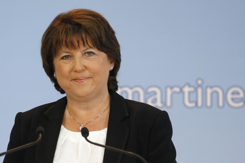 France's Socialist Party First Secretary Martine Aubry attends a news conference in Lille