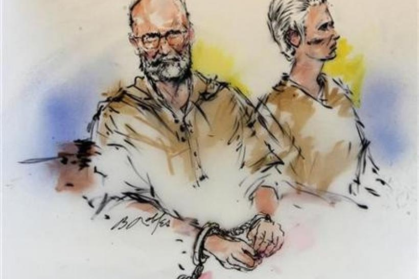Accused Boston crime boss James ''Whitey'' Bulger (L) and his girlfriend Catherine are shown during their arraignment in federal court in Los Angeles, California in this June 23, 2011 courtroom sketch.