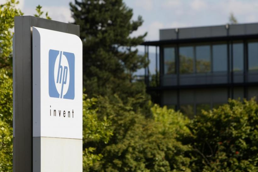 An HP Invent logo is pictured in front of Hewlett-Packard international offices in Meyrin near Geneva