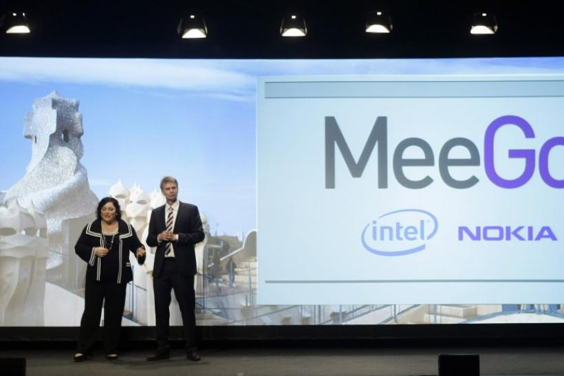 Nokia's Oistamo and Intel's James speak during 'MeeGo' presentation at the Mobile World Congress in Barcelona