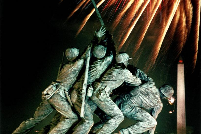 Fireworks explode over Iwo Jim monument in Washington on Independence Day