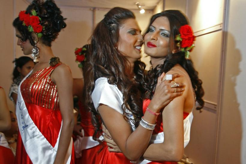 "Contestants pose backstage before the finals of ""Indian Super Queen"" in Mumbai"