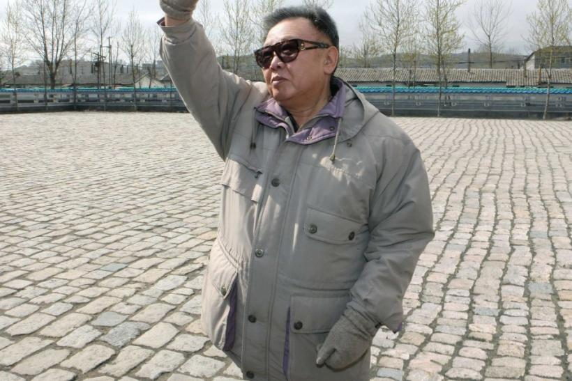 North Korean leader Kim Jong-il waves upon his visit to the Songjin Steel Complex in North Korea 25/04/2011