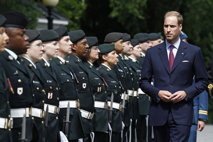 Britain's Prince William inspects the honour guard at Rideau Hall in Ottawa