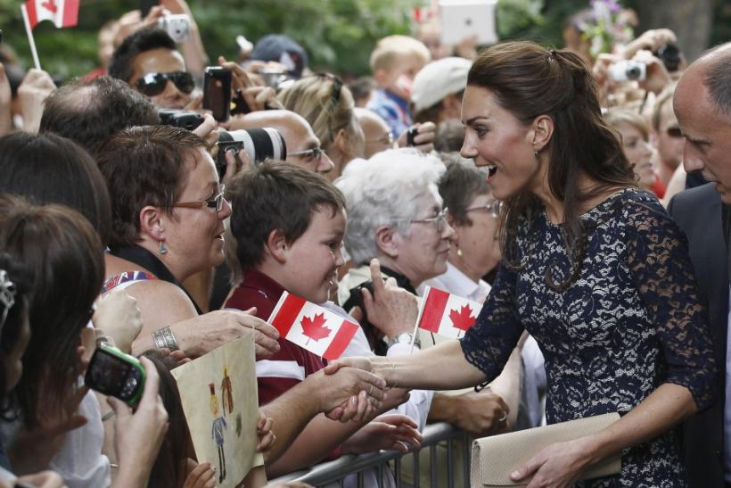 Catherine, Duchess of Cambridge, greets spectators at Rideau Hall in Ottawa