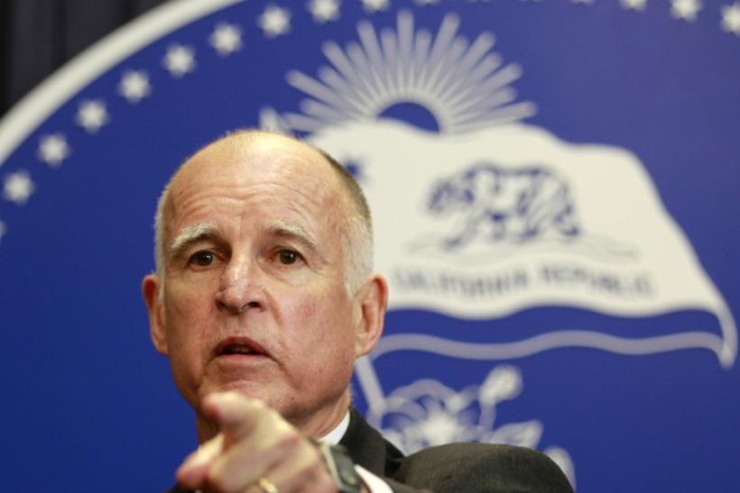 California Governor Jerry Brown speaks after vetoing the budget passed the day before by state legislators in Los Angeles, California June 16, 2011.
