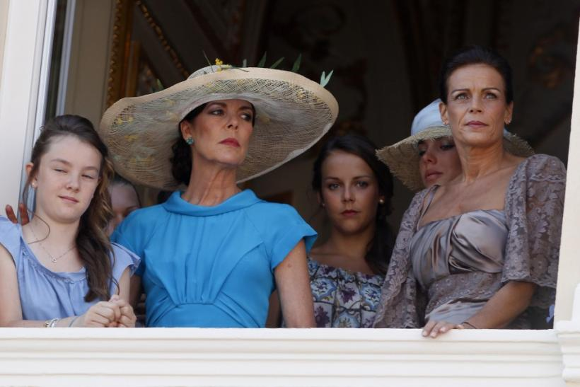 Princess Stephanie of Monaco and her sister Princess Caroline of Hanover are seen with daughters after civil wedding ceremony of Prince Albert II in Monaco