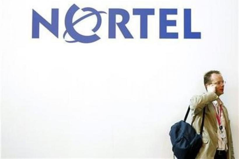 A Nortel sign at the 2009 GSMA Mobile World Congress in Barcelona.