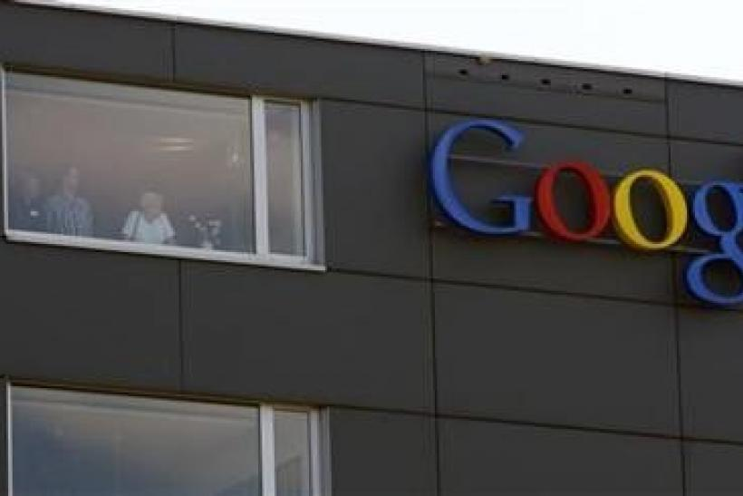 A company logo is placed on the roof of the Google building in Zurich