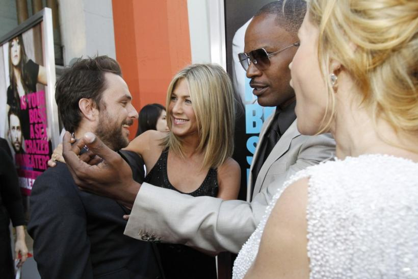 Charlie Day, Jennifer Aniston, Jamie Foxx and Julie Bowen attend the premiere of Horrible Bosses at the Grauman's Chinese theatre in Hollywood