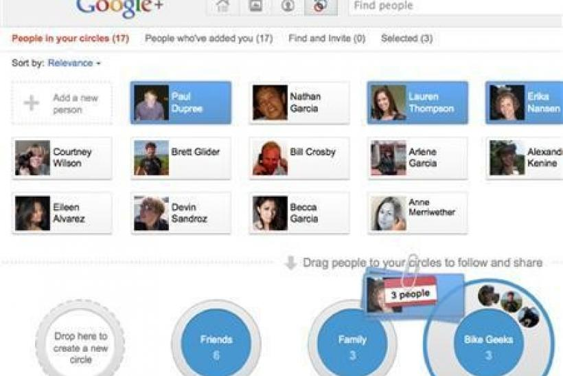 A screen shot of the Google Plus social network is shown in this publicity photo released to Reuters
