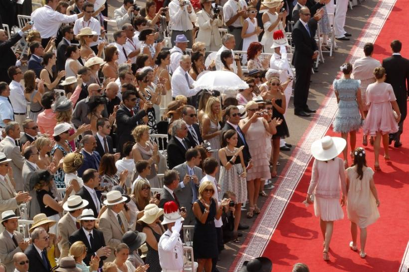 Princess Stephanie of Monaco and her children Louis Pauline and Camille arrive with Princess Caroline of Hanover and her daughter Alexandra to attend religious wedding ceremony for Monaco's Prince Albert II and Princess Charlene in Monaco