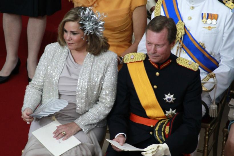 Grand Duchess Maria Teresa of Luxembourg and her husband Grand Duke Henri attend the religious wedding ceremony of Monaco's Prince Albert II and Princess Charlene at the Palace in Monaco
