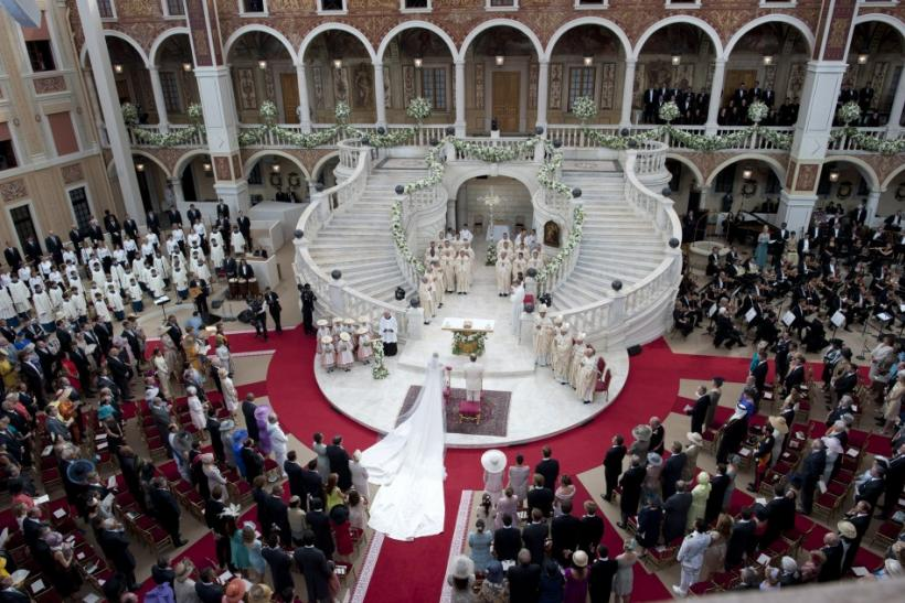 General view of religious wedding ceremony between Monaco's Prince Albert II and Princess Charlene inside the Palace in Monaco