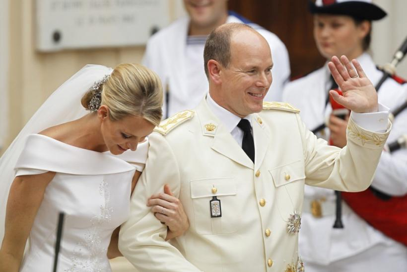Princess Charlene and Monaco's Prince Albert II leave the Sainte Devote church in Monaco after their religious wedding ceremony in Monaco