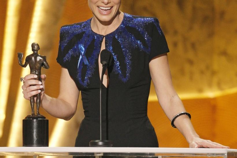 Sandra Bullock accepts the award for best female actor in a leading role at the 16th annual Screen Actors Guild Awards in Los Angeles