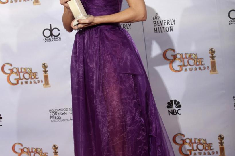 Sandra Bullock poses with her award at the 67th annual Golden Globe Awards in Beverly Hills