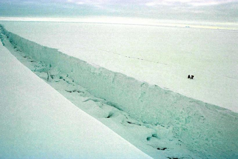 GREENPEACE CREWMEMBERS INSPECT THE ICE IN ANTARCTICA