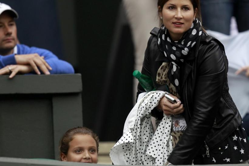 The wife of Roger Federer of Switzerland, Mirka Vavrinec