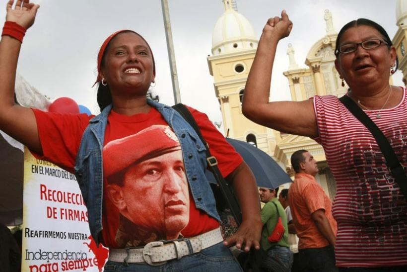 Supporters of Venezuelan President Hugo Chavez in Caracas