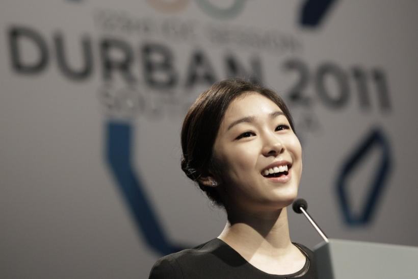 South Korean Olympic figure skater Kim speaks during the Pyeongchang bid city presentation to the 123rd IOC session in Durban