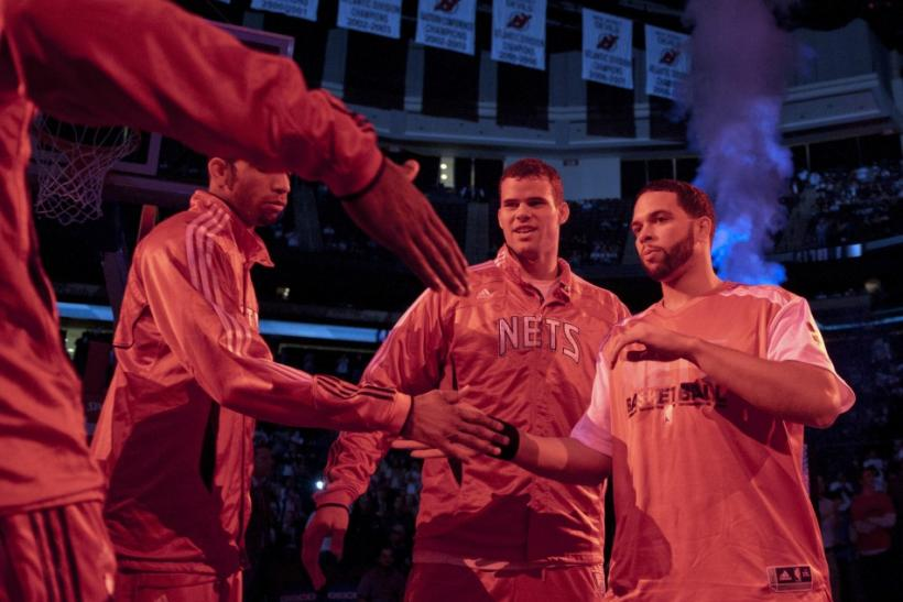 New Jersey Nets point guard Deron Williams is seen as the team is introduced to the crowd before the Nets played the Phoenix Suns