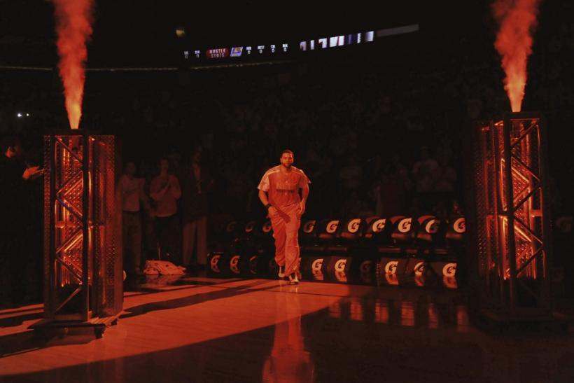 New Jersey Nets point guard Deron Williams is introduced to the crowd before the Nets played the Phoenix Suns
