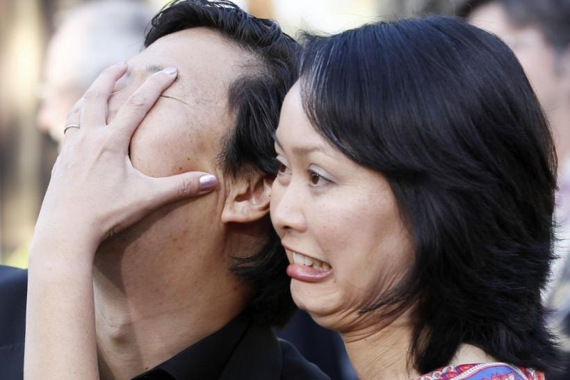 Cast member Ken Jeong (L) and his wife Tran Ho