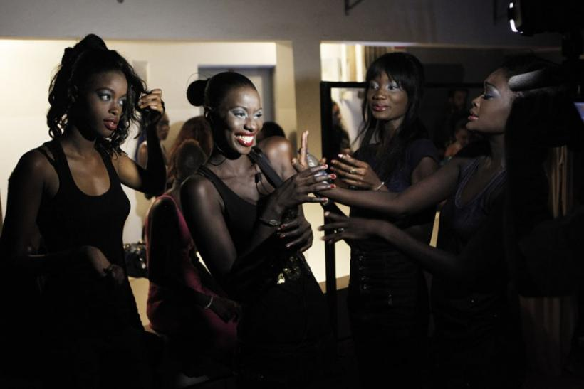 Senegalese models joke around backstage