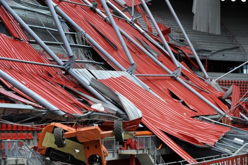 A view of the collapsed roof of the soccer stadium of FC Twente Enschede in Enschede.