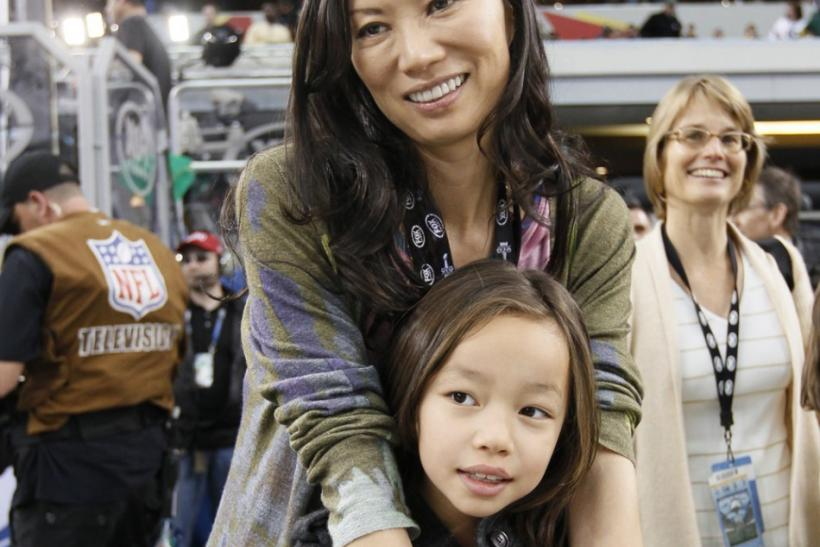 His wife Wendi Deng and daughter Chloe Murdoch