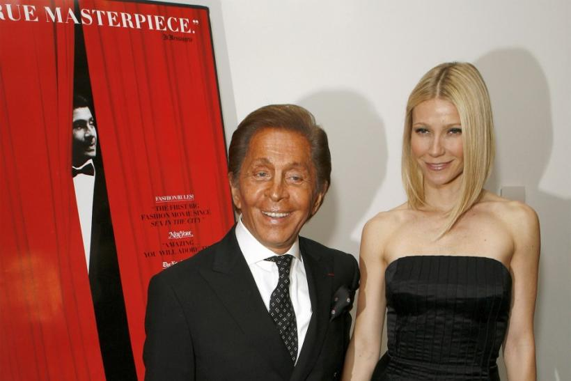 "Designer Garavani arrives with actress Paltrow at the premiere of the film ""Valentino: The Last Emperor"" in New York"