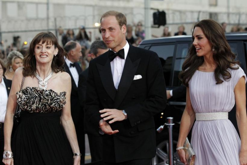 Britain's Prince William and his wife Catherine, Duchess of Cambridge, with Berry, arrive at the BAFTA Brits to Watch event in Los Angeles