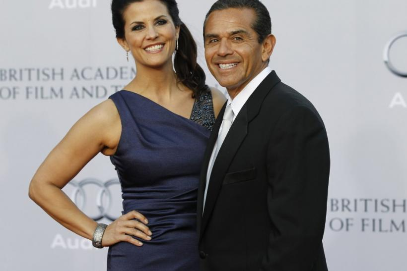 Los Angeles Mayor Antonio Villaraigosa and his partner Lu Parker pose at the BAFTA Brits to Watch event in Los Angeles