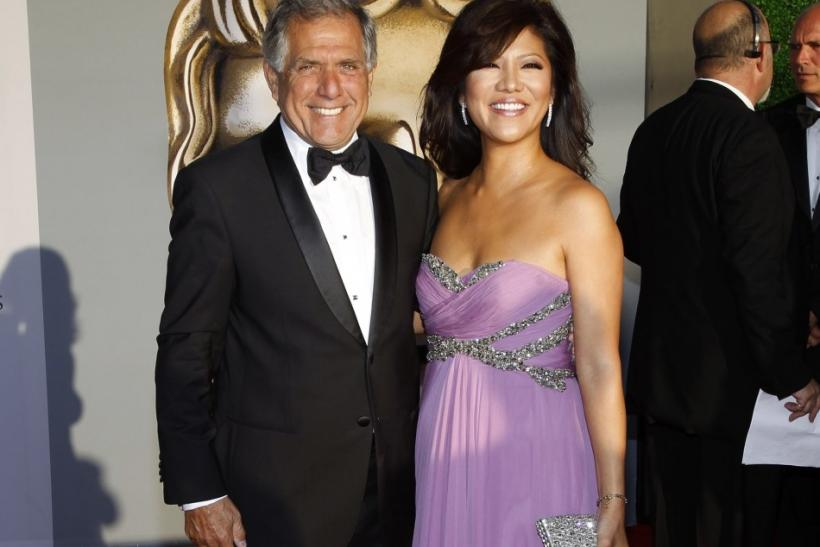 President and CEO of CBS Corporation Les Moonves and wife Julie Chen arrive at the BAFTA Brits to Watch event in Los Angeles