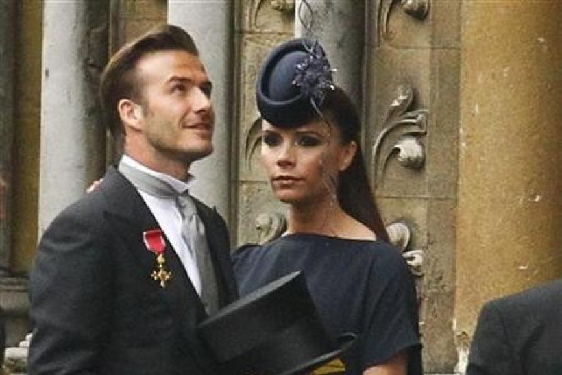 Soccer star David Beckham and his wife Victoria