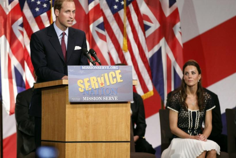 Britain's Prince William speaks as his wife Catherine, Duchess of Cambridge (R) listens at the Mission Serve: Hiring Our Heroes event in Culver City, California July 10, 2011.