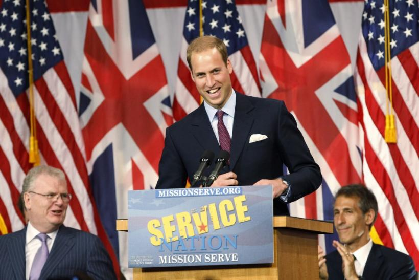 Britain's Prince William speaks at the Mission Serve: Hiring Our Heroes event in Culver City, California