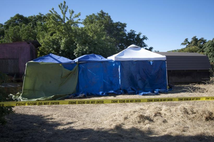 Tents installed by local police surround sheds on the property next door to the home of Garrido in Antioch