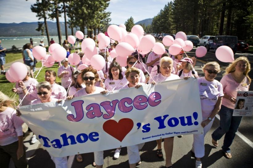 About 500 people march through South Lake Tahoe celebrating the reappearance of Jaycee Dugard who had been abducted 18 years ago in the California town