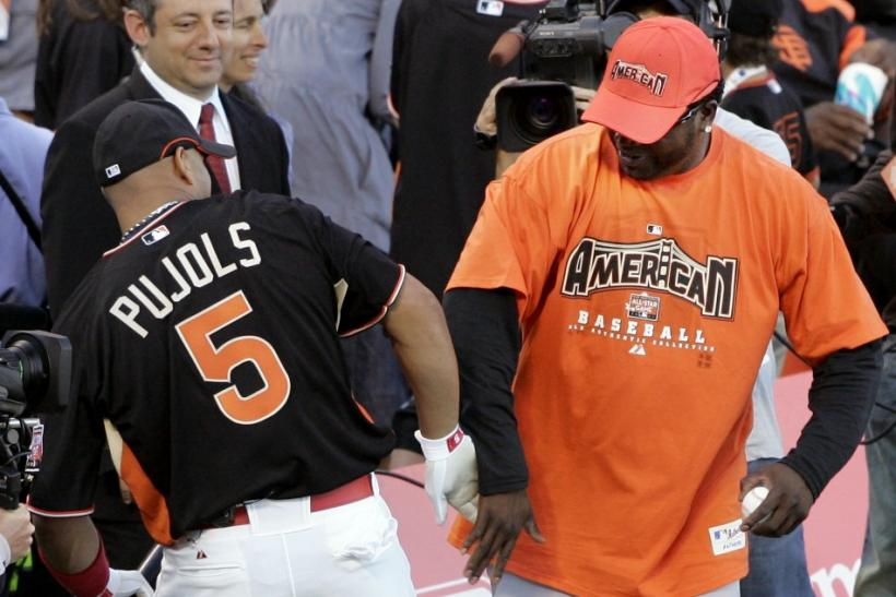 National League All-Star Pujols and American League All-Star Ortiz joke during the Home Run Derby in San Francisco