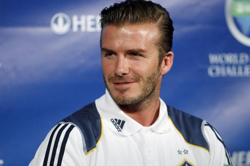 LA Galaxy soccer player David Beckham attends a news conference in Los Angeles