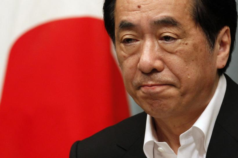 Japan's Prime Minister Naoto Kan attends a news conference at his official residence in Tokyo