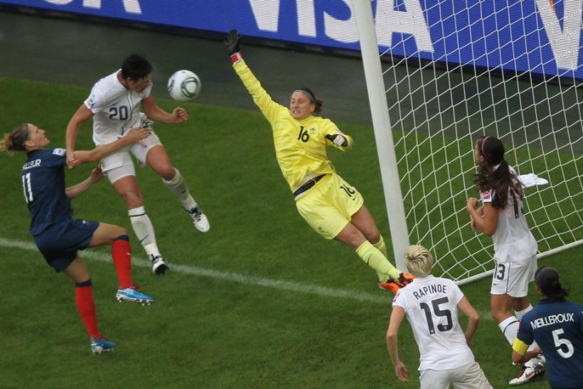 Wambach of the U.S. scores a goal during the Women's World Cup semi-final soccer match against France in Monchengladbach