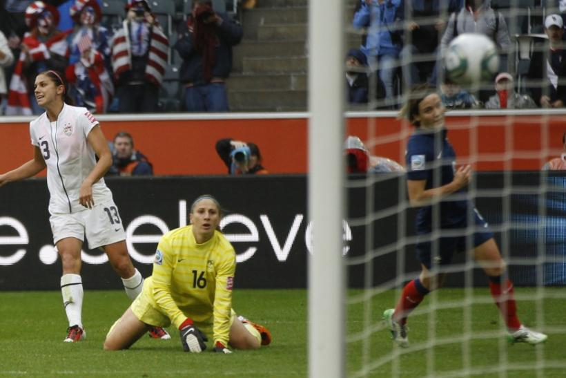 Morgan of the U.S. scores a goal during the Women's World Cup semi-final soccer match against France in Monchengladbach