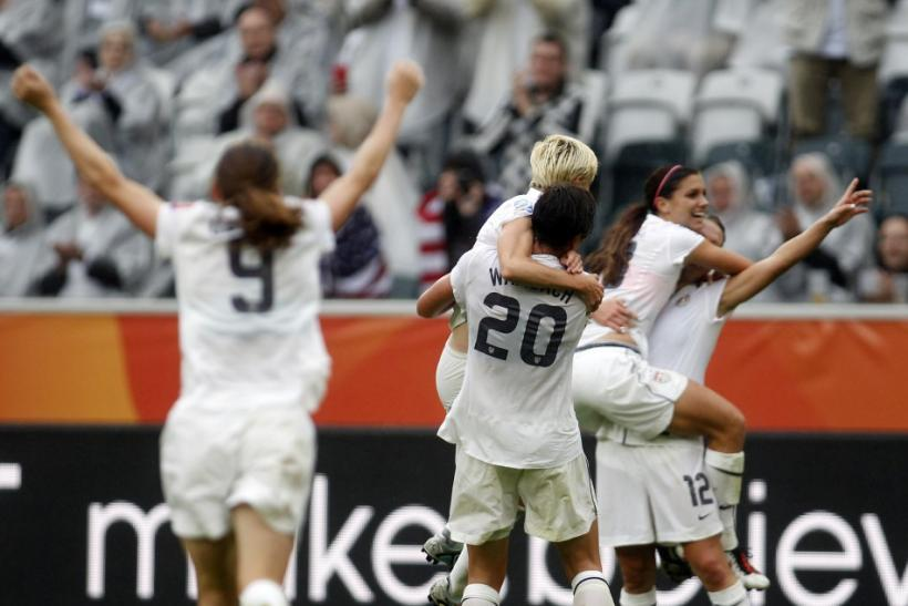 Players of the U.S. celebrate a goal during the Women's World Cup semi-final soccer match against France in Monchengladbach