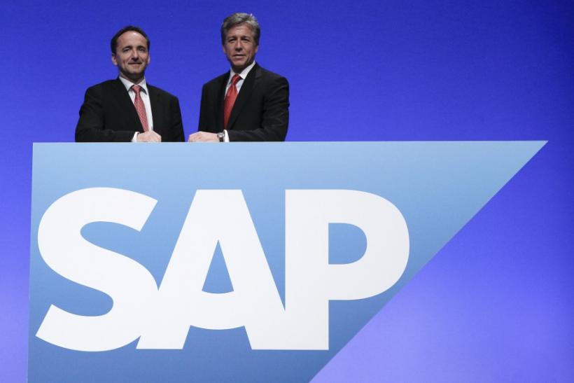 SAP CEOs McDermott and Snabe pose prior to the company's general shareholder assembly in Mannheim