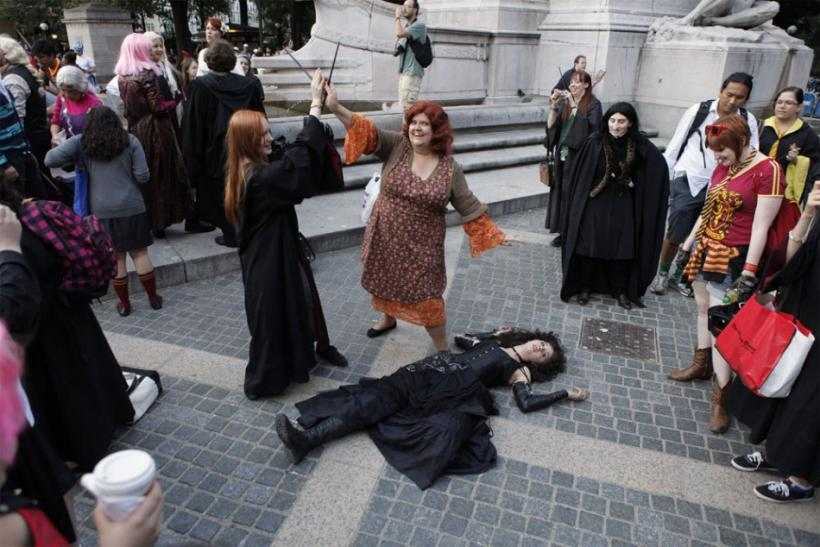 Members of the Harry Potter fan group re-enacting the film scene in New York