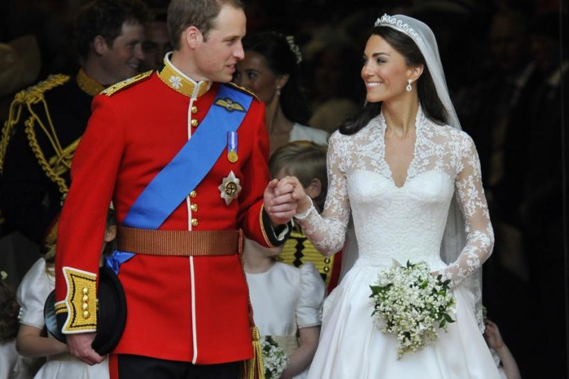 Britain's Prince William and Catherine, Duchess of Cambridge, look at one another after their wedding ceremony in Westminster Abbey